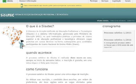 sisutec. mec.gov.br – Cursos Gratuitos Pronatec