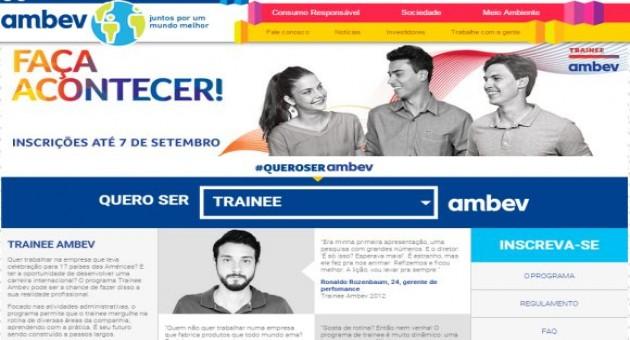 Programa de Trainee Ambev 2015 inscrições abertas
